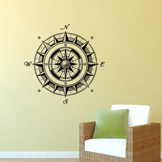 Wall Decal Nautical Compass Rose Wall Decor by FabWallDecals | Beach ...