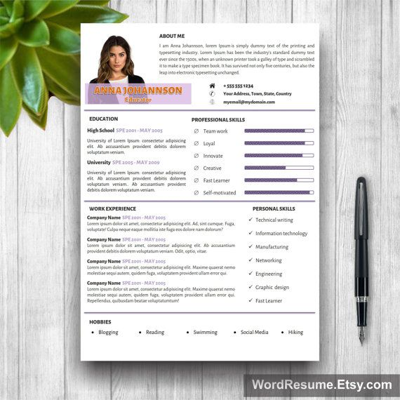 Resume Template Cover Letter Portfolio and by WordResume on Etsy - Resume Template Cover Letter