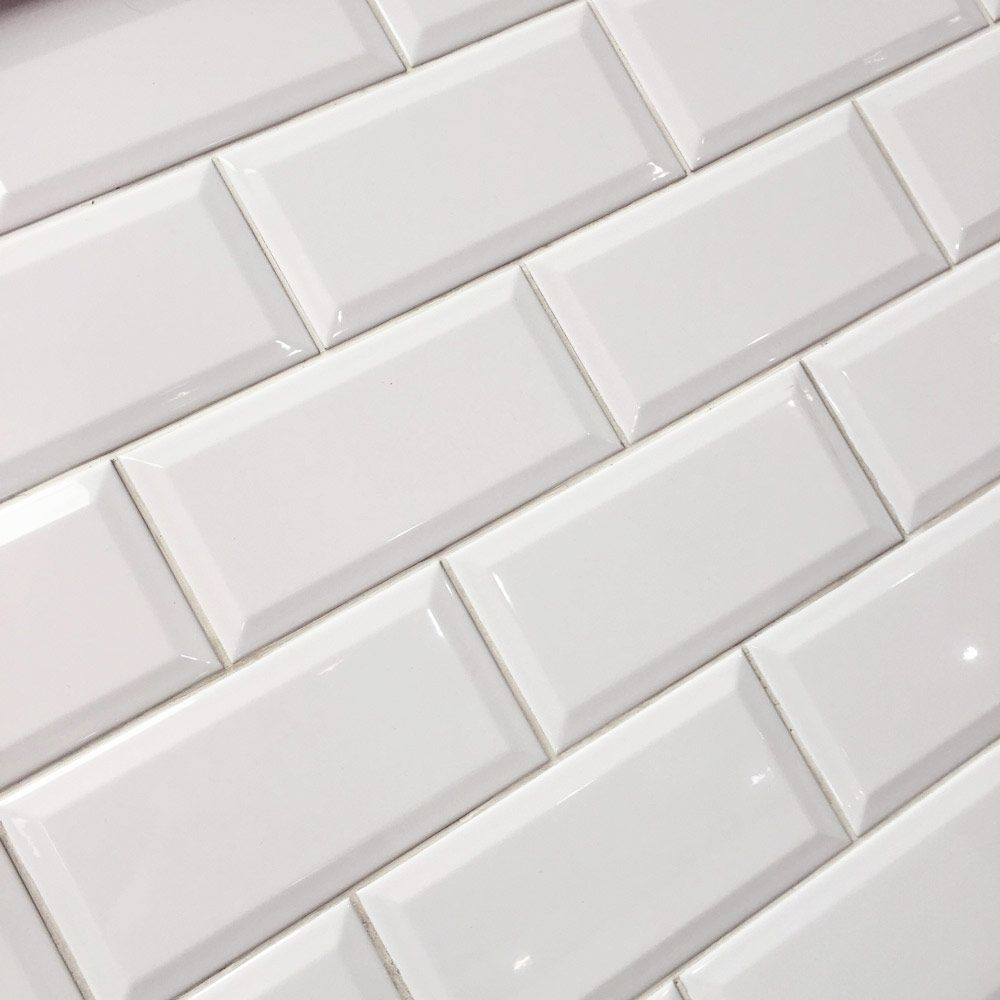 10x20cm Metro White Bevelled Brick Tile By Fabresa Tiles Brick Tiles White Brick Tiles Kitchen Brick Tiles Bathroom