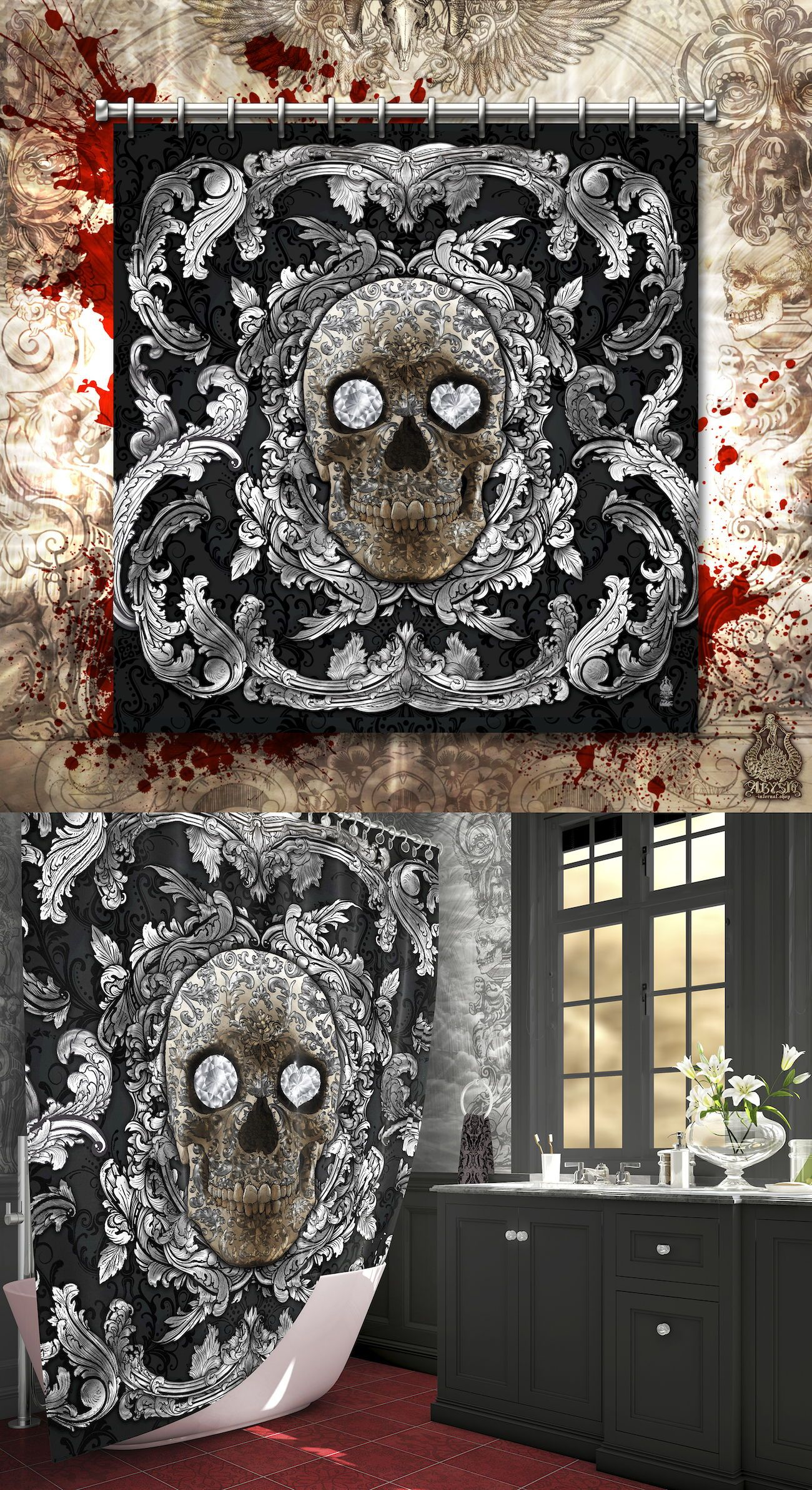 Gothic Silver Sugar Skull Shower Curtain Home Decor
