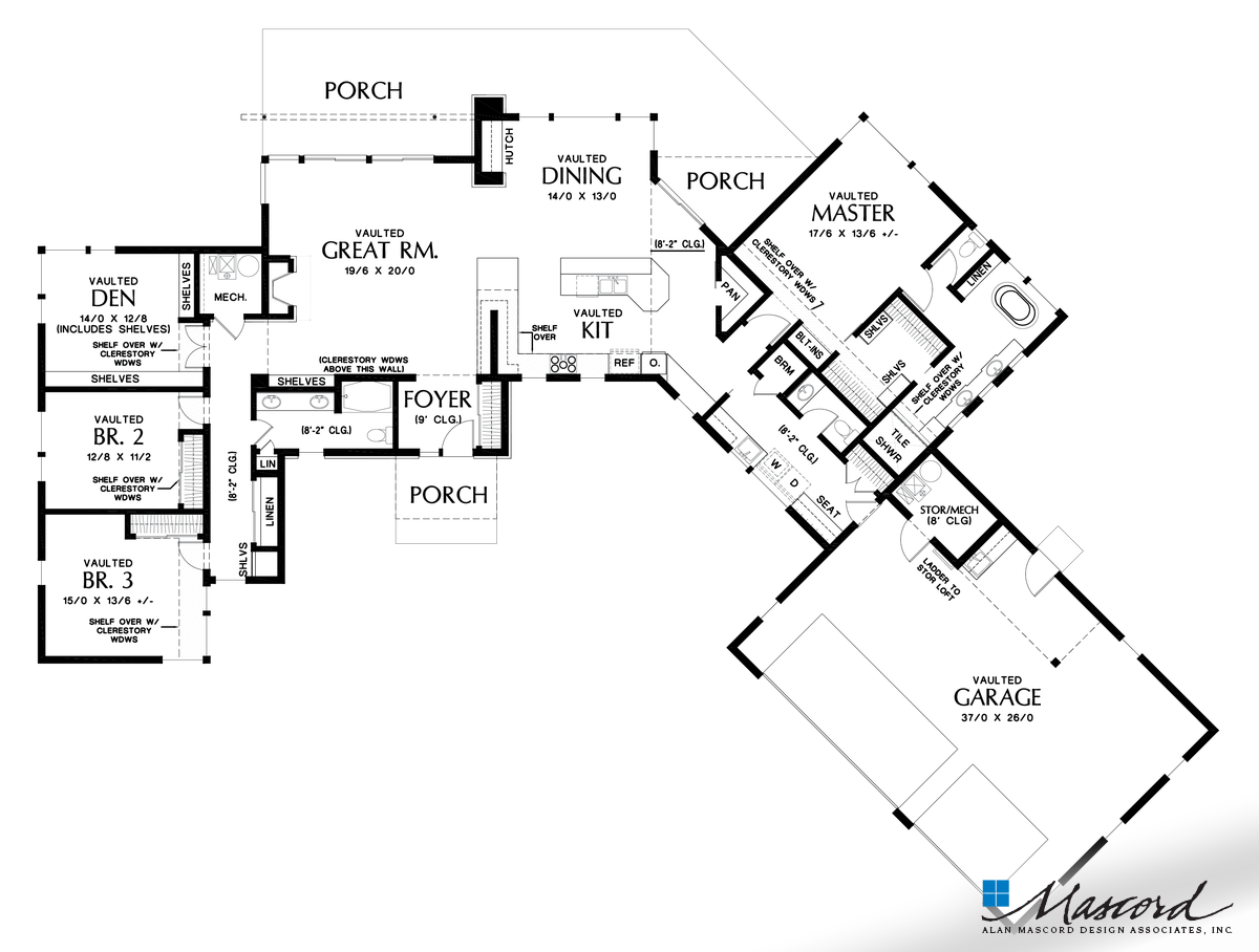 Main floor plan of mascord plan 1255 the salt lake expansive spaces great for acreage or view lots