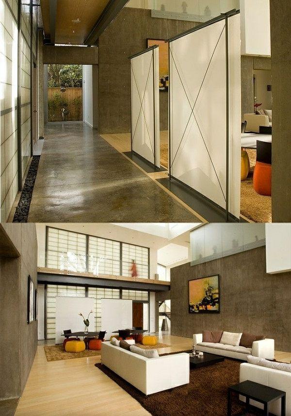 wohnzimmer modern versteckt raumteiler ideen design | schönes wohnen ...