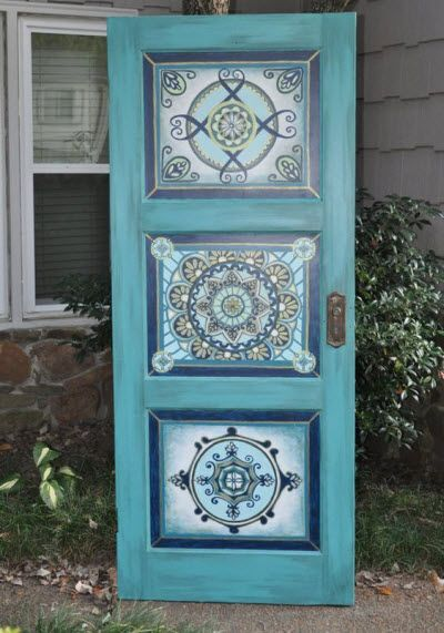 Painting Old Interior Doors: Hand Painted Mandalas On An Old Turqoise Door.