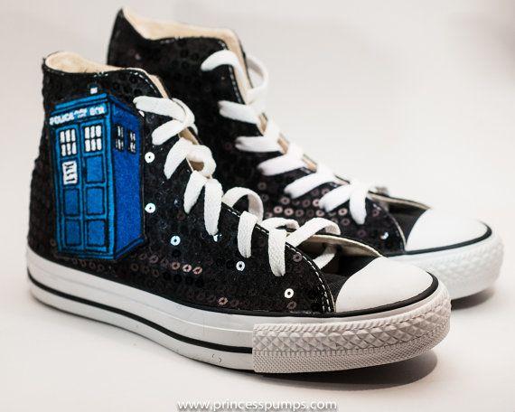 d7e4ec822f4 Black Sequin TARDIS Converse Canvas Hi Top Sneaker