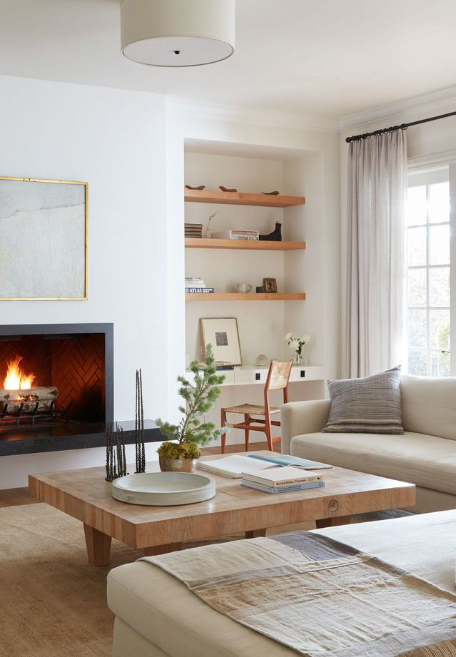 layers of neutrals in the living room colonial farmhouse tour on
