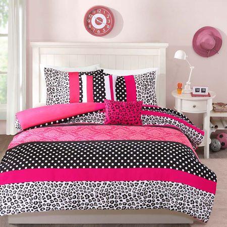 Hot Pink Black White Cheetah Animal Print Teen Girl Bedding Twin ... : hot pink quilt twin - Adamdwight.com