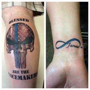 Got thin blue line tattoos shop is cool clean staff for Thin blue line tattoo designs