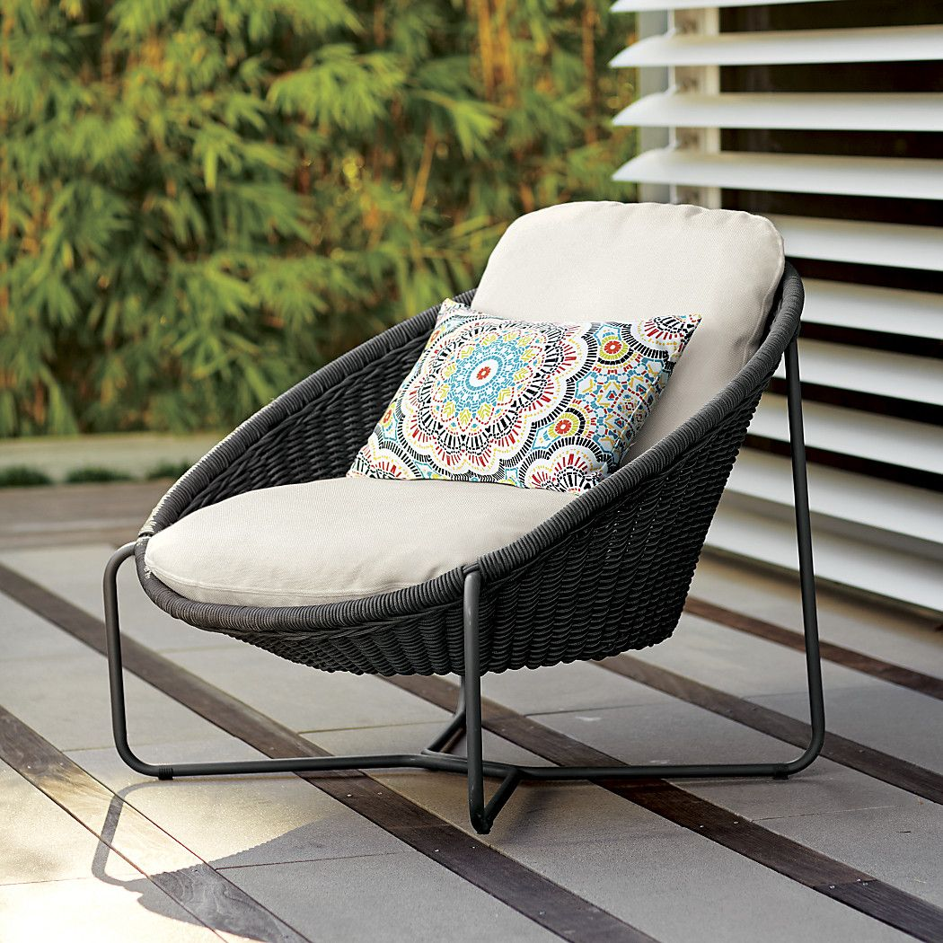 Morocco Graphite Oval Lounge Chair With White Cushion Reviews