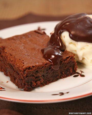 fudgy chocolate brownies, via martha stewart
