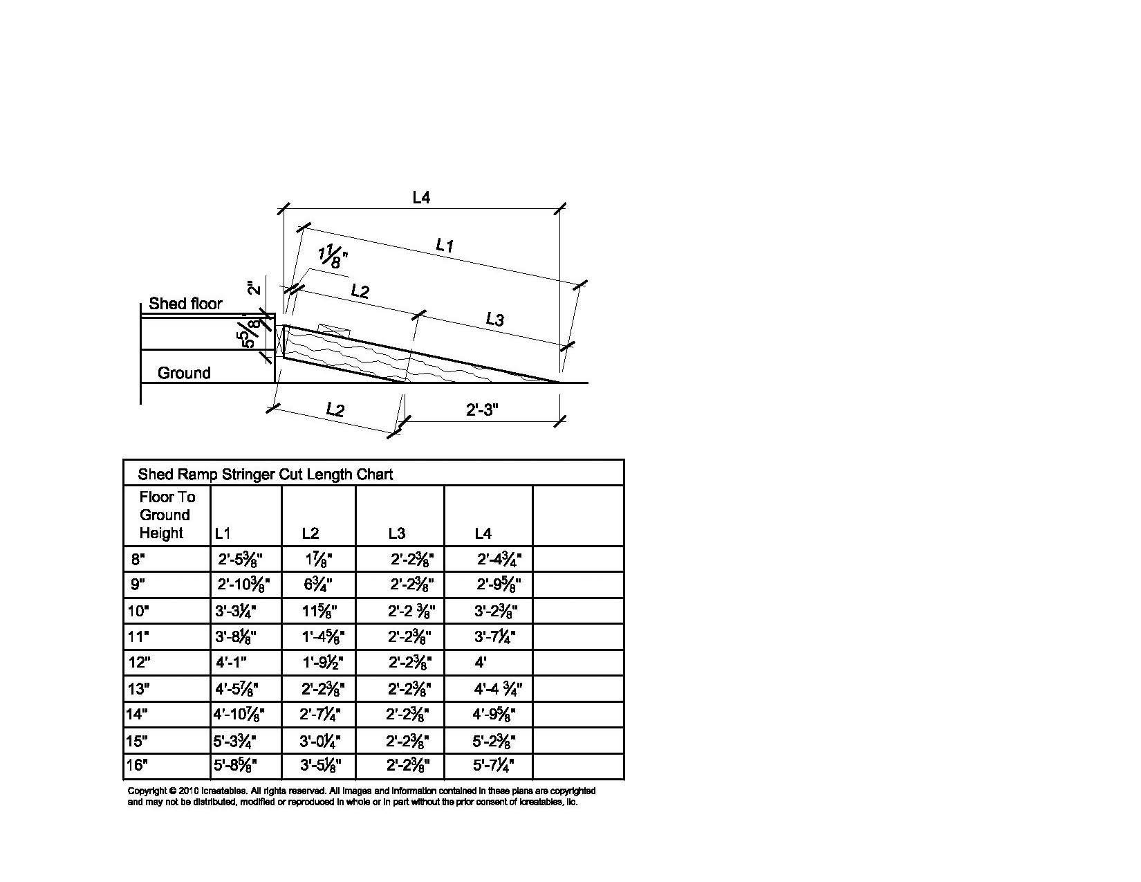 Shed Ramp Stringer Cut Chart