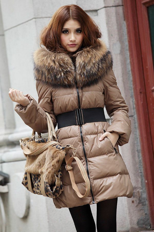 Fashion Women mid-long luxury fur collar slim duck down jacket ...