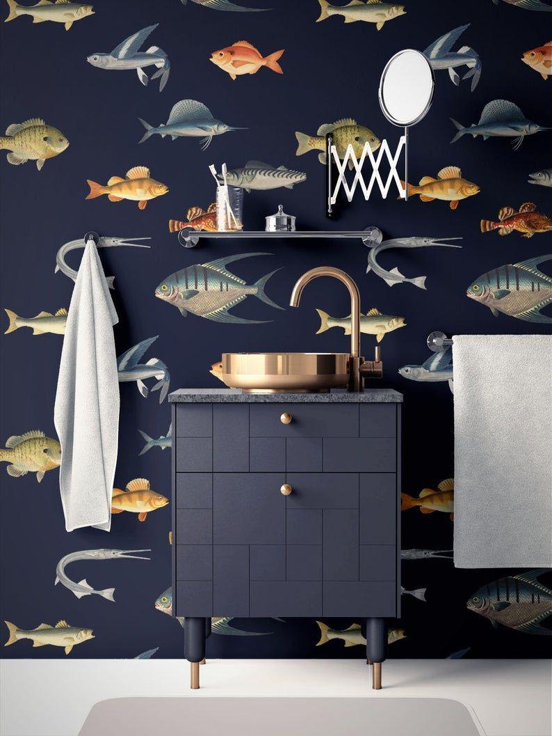 Ocean Wallpaper Removable Nautical Wallpaper Fish Wallpaper Modern Wallpaper Peel And Stick Wallpaper Self Adhesive Wallpaper 032 In 2021 Nautical Wallpaper Ocean Wallpaper Fish Wallpaper