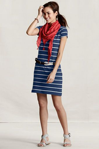 d4cccd2c58a Women s Sailor Striped T-Shirt Dress from Lands  End Canvas ...