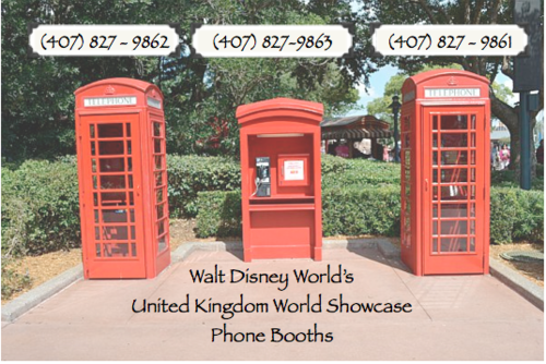 Phone numbers for the booths at Epcot Center. Disney facts
