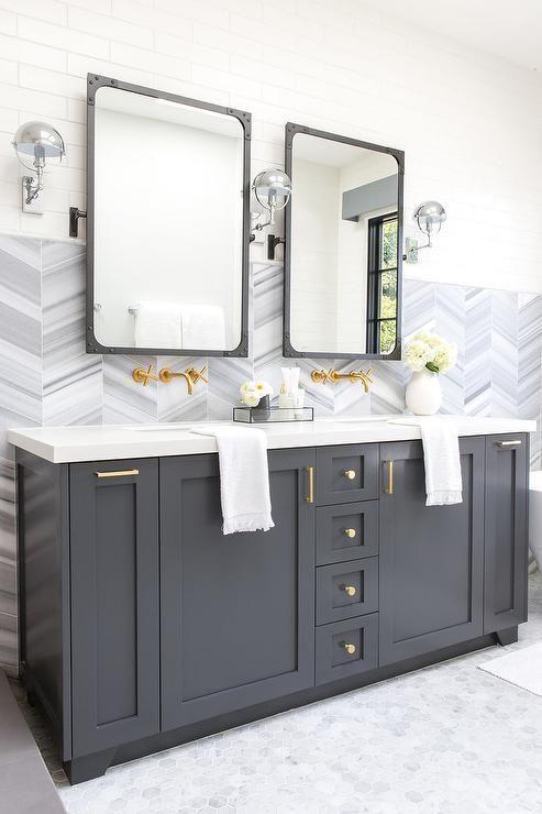 Brass Pulls On Charcoal Gray Dual Bath Vanity Lazienka
