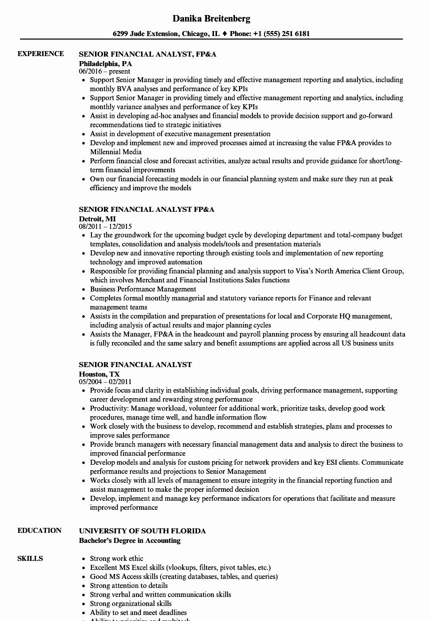 25 Financial Analyst Resume Template in 2020 Resume