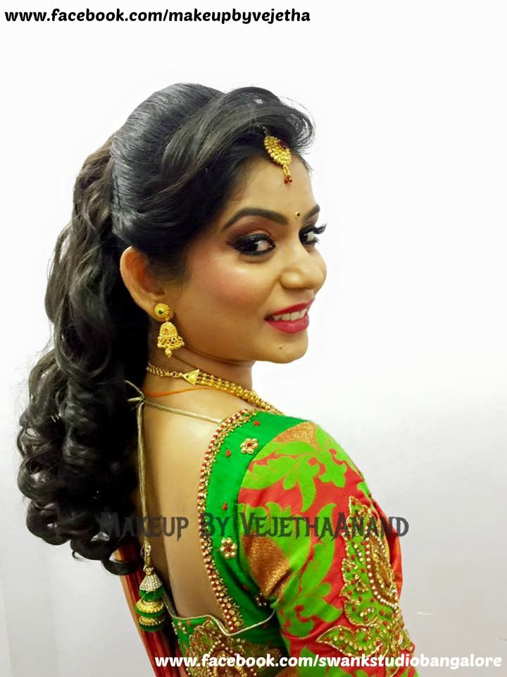 Traditional Southern Indian Bride Smitha Wears Bridal Silk Saree And Jewellery For Her Wedding Indian Bridal Makeup Indian Bridal Hairstyles Bride Hairstyles