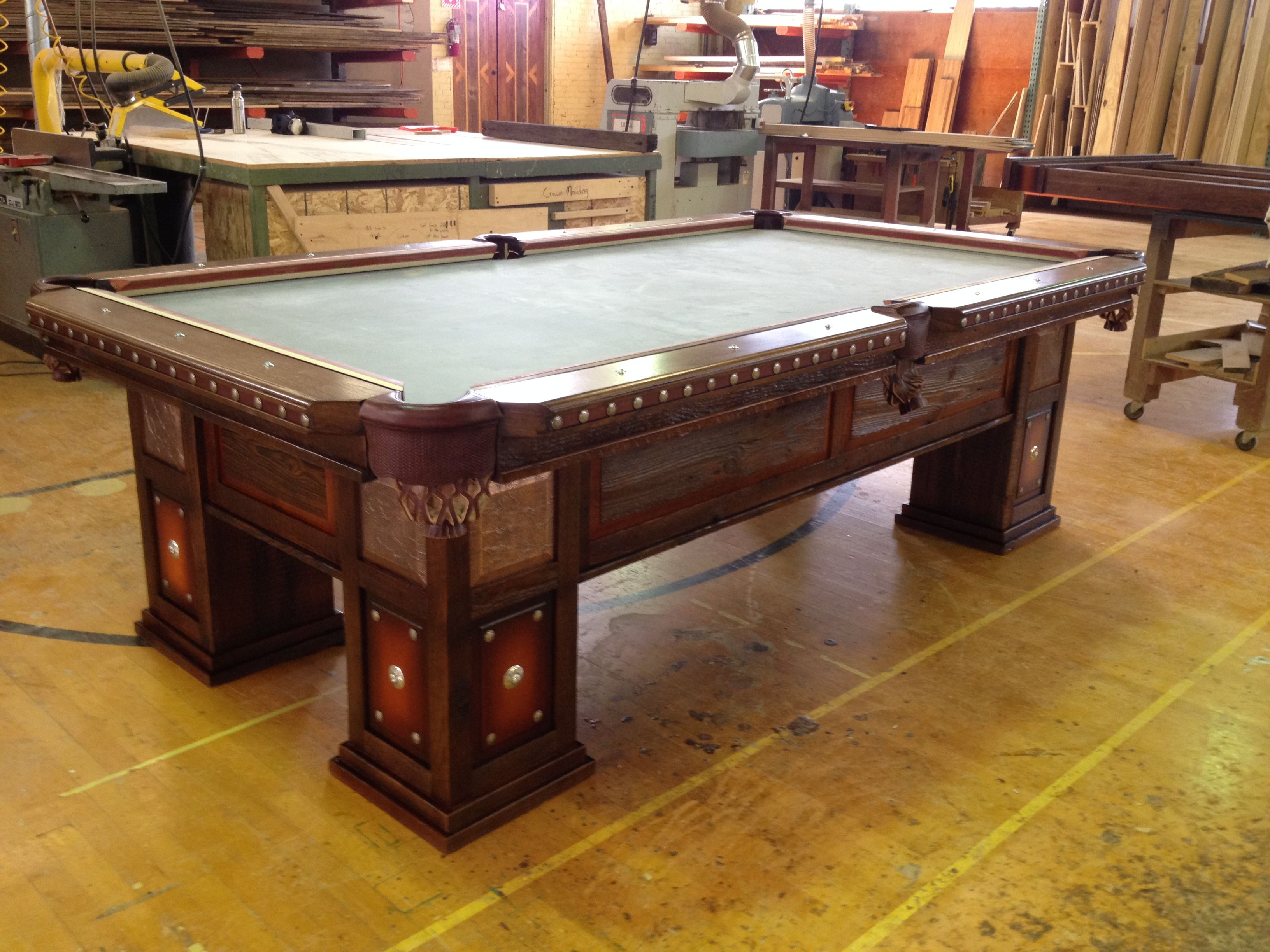 Reclaimed Barnwood Pool Table By Western Heritage Furniture Leather - Sterling pool table