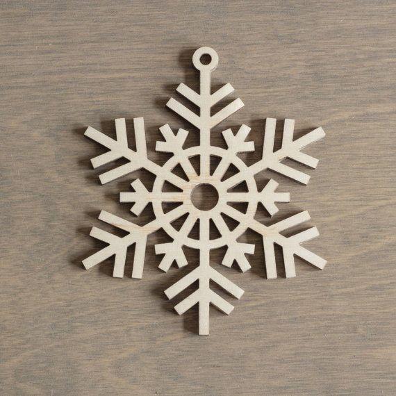 Madera copo de nieve 10 cm navidad decoraci n de por for Estrella de nieve