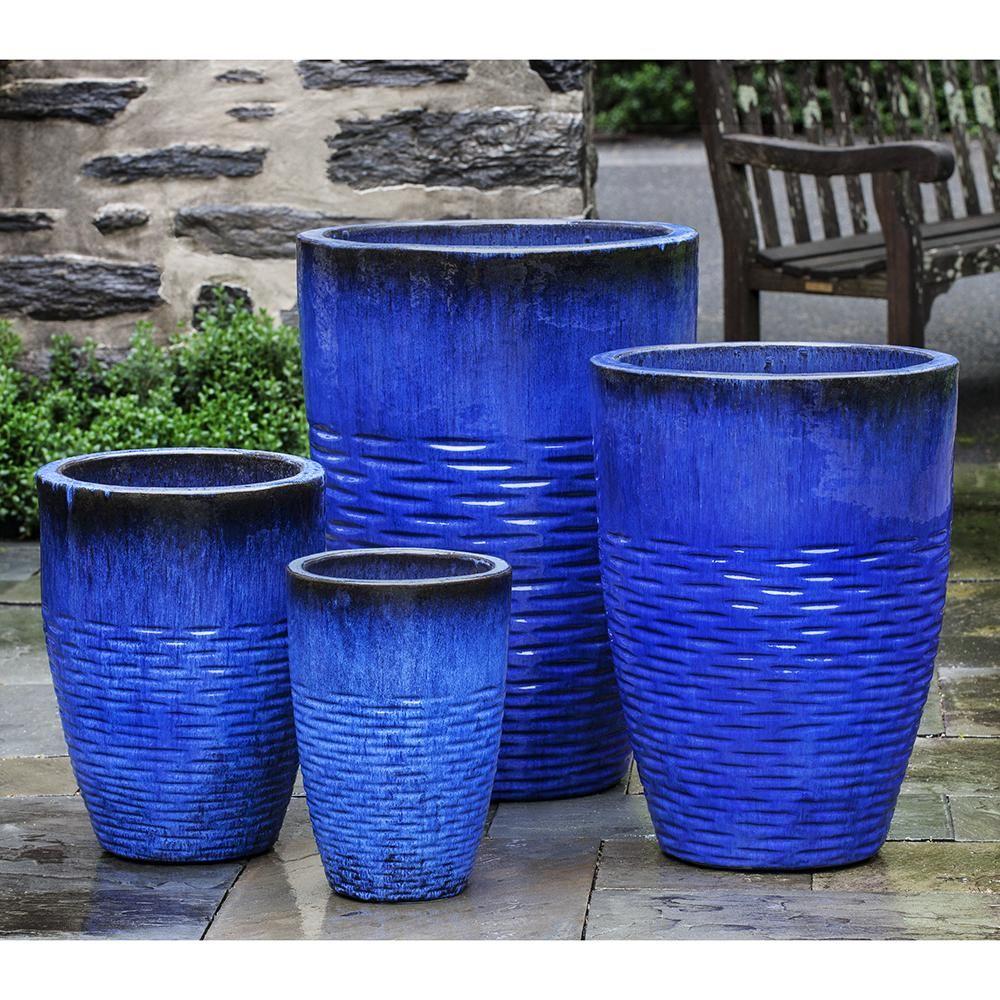 Tall Riviera Blue Scored Terra Cotta Planters Set Of 4 Planters Planter Pots Ceramic Planters
