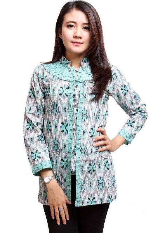 Model Kemeja Batik Wanita Kombinasi Blouse di 2020