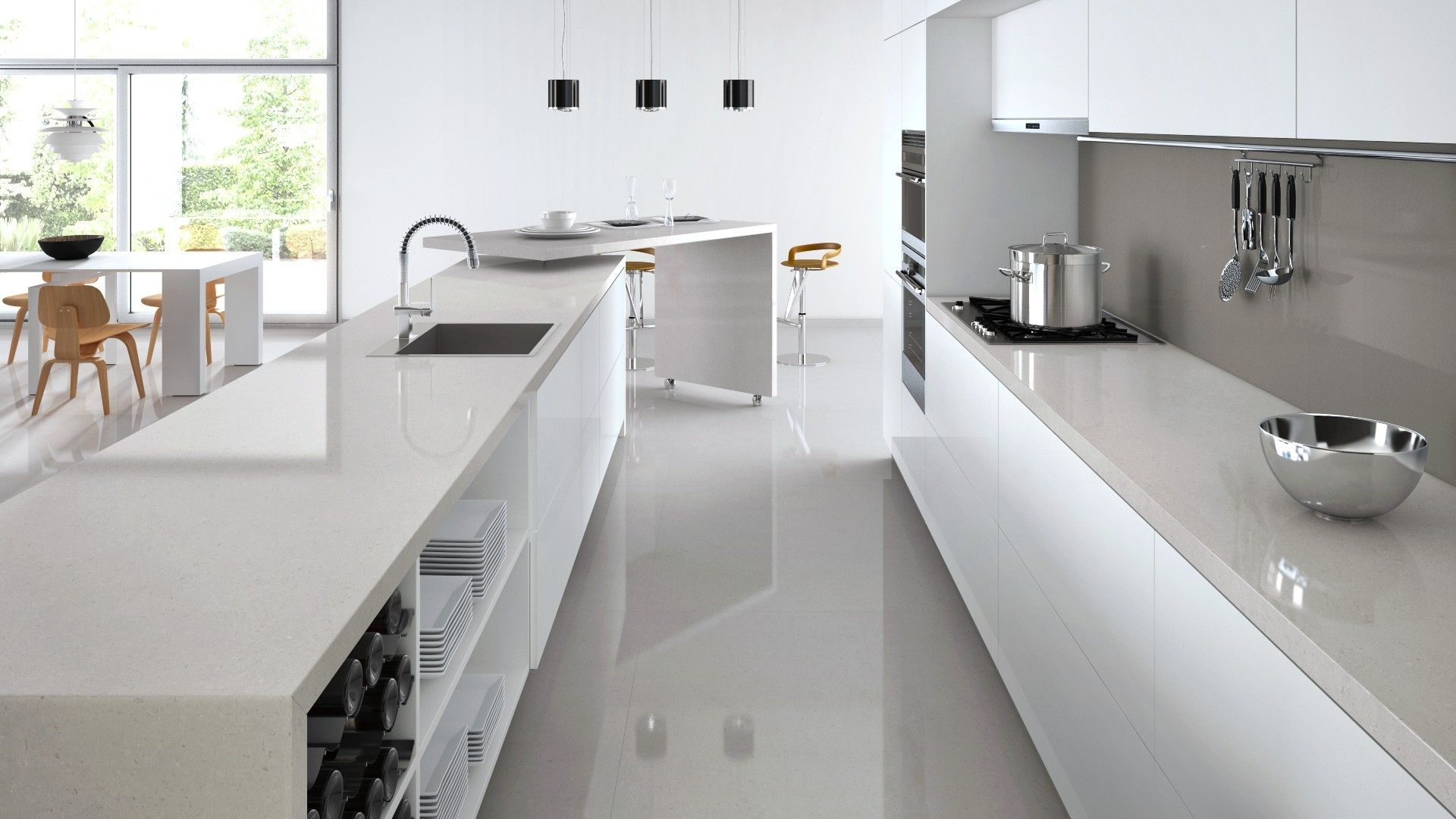 Grey Kitchen Benchtops Light Grey Benchtop To Match Floors Dark Grey Splashback