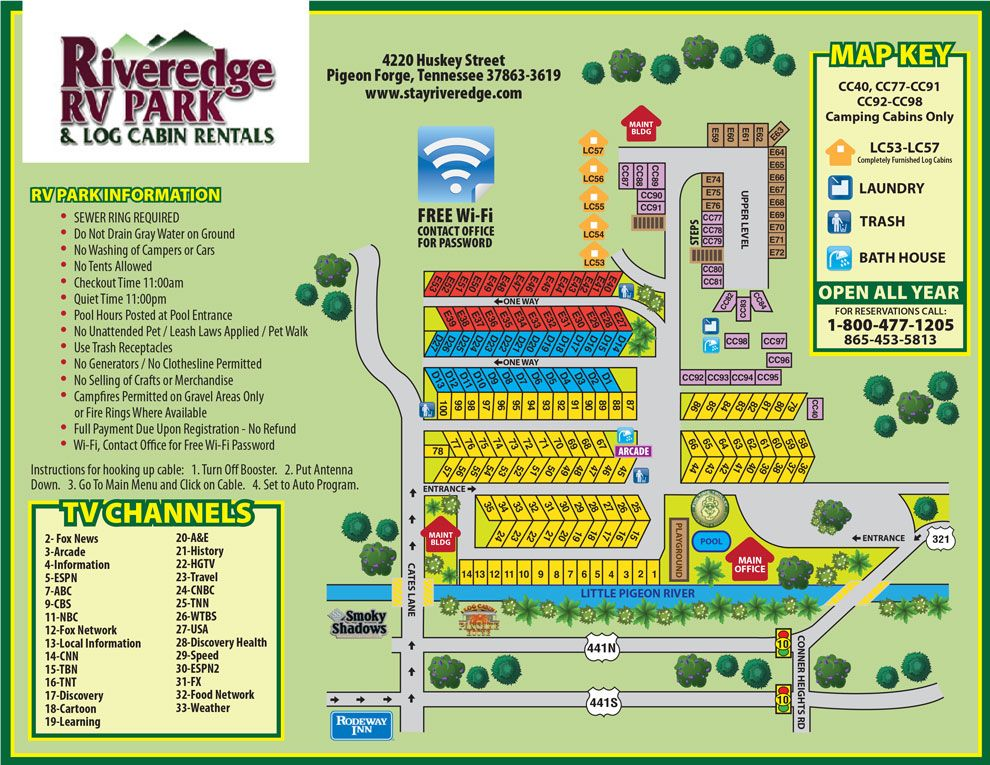 Riveredge Rv Park Map Rv Parks Log Cabin Rentals Campground