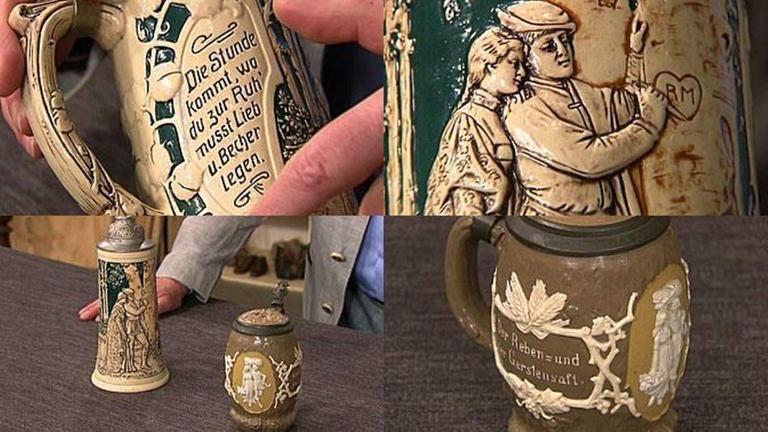 Zwei Bierkrüge - Der obere Krug ist aus Steinzeug,besitzt Motive nach Robert Beyschlag und Jugendstilornamente, bezeichnet mit Germany 560, 1920/30 - das heißt Massenware, die bis in die 50er produziert wurden. 30 € - Dunkler Krug, Villeroy&Boch, um 1900/1910, schöne Reliefs 100 - 150 €