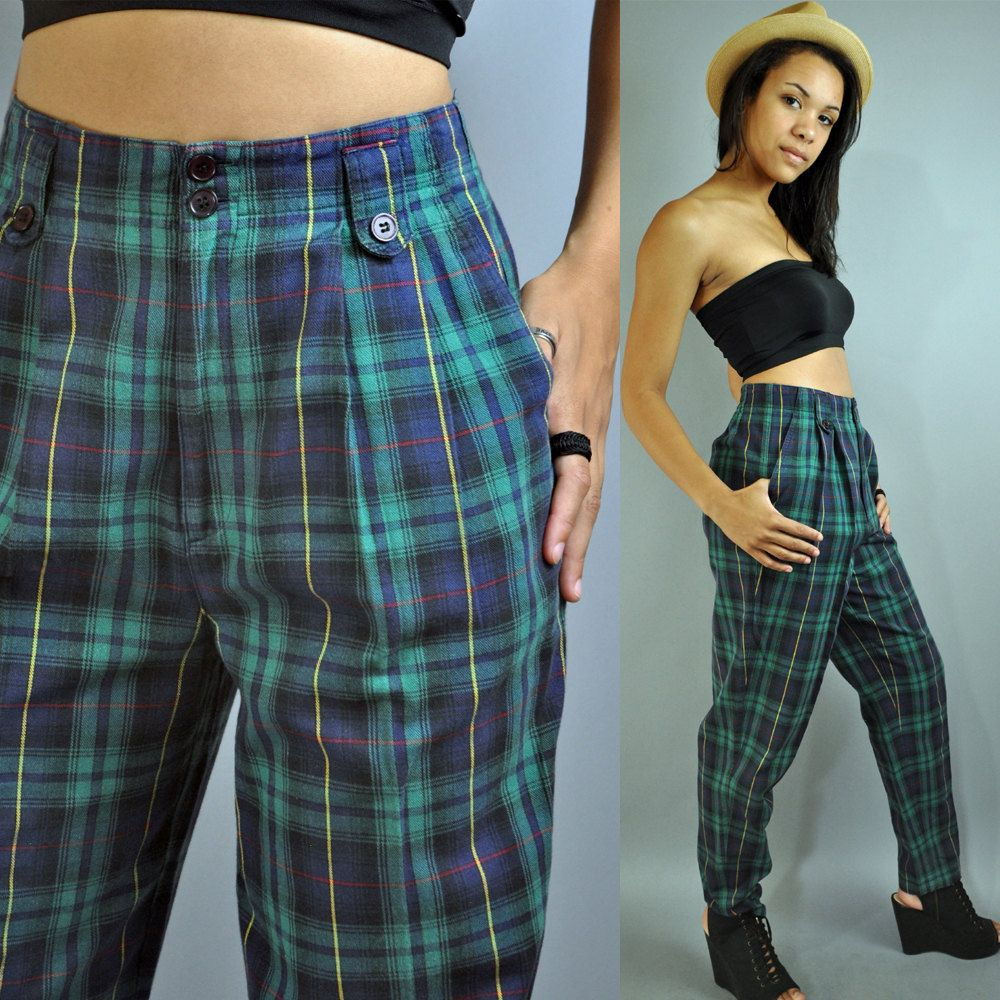 64363711518 80s HIGH WAISTED pants plaid pants taper leg HIPSTER trouser