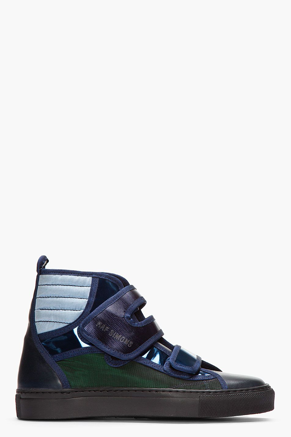 ecead5e3a627 Raf Simons Blue And Green Metallic Velcro High-Tops. Mens Trainers