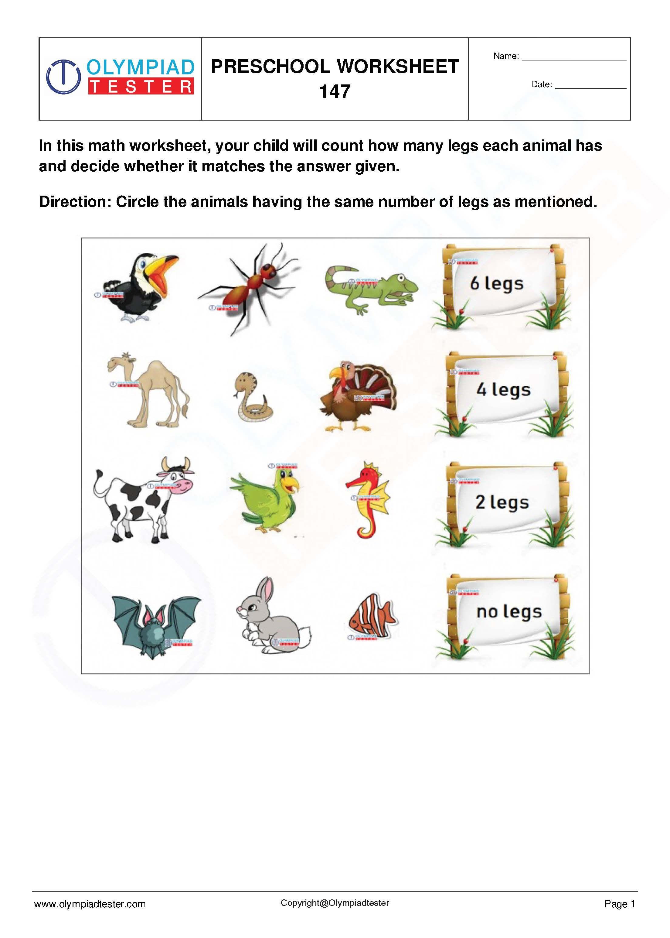 Preschool Math Worksheets Set 29. Download 5 PDF