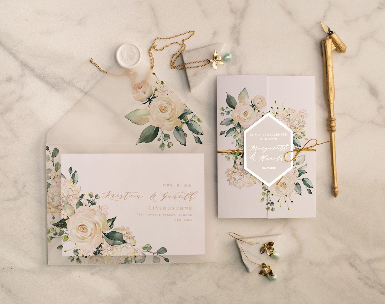 Gold Glamour Wedding Invitations Uk Geometric Heart Vellum Glitter Envelope With Ivory Flowers Wax Seal 12 Frameg Z With Images Wedding Invitations Uk Wedding Invitations Diy Formal Wedding Invitations