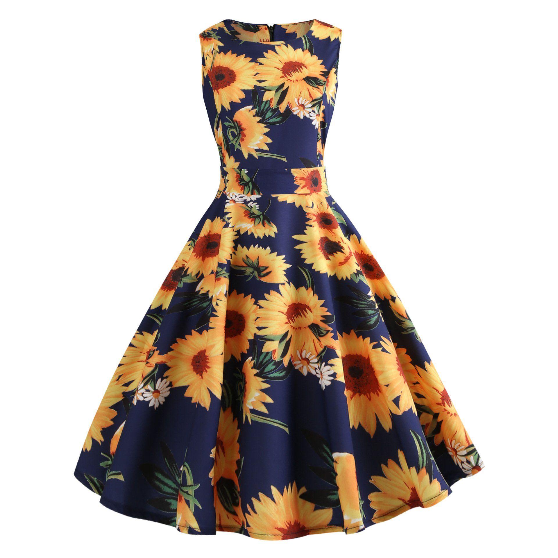 Women S 1950s Retro Vintage Cocktail Party Sun Flower Print Swing Dress Flower Print Dress Summer Printed Summer Dresses Plus Size Vintage Dresses [ 1920 x 1920 Pixel ]