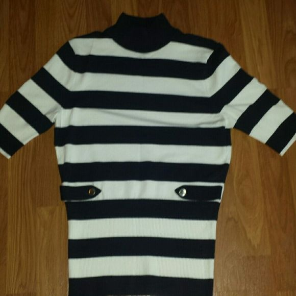 Cache striped short sleeve sweater Beautiful and so soft. Excellent shape and great quality. Mock turtleneck . 70% rayon and 30% nylon. Cache is out of business so you will never find another one like this. Make me an offer! Cache Sweaters Cowl & Turtlenecks