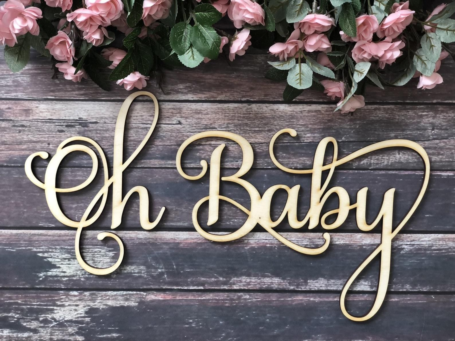 Oh Baby Wooden Baby Shower Sign.