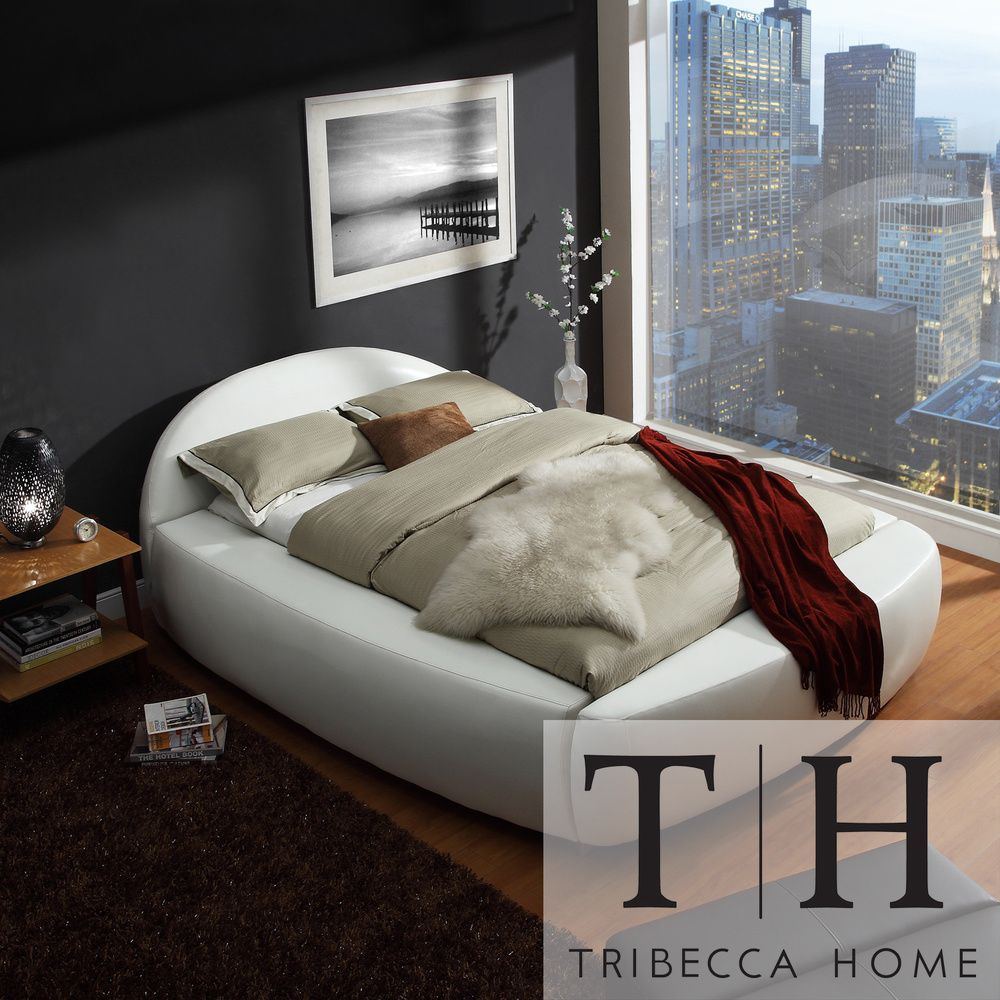 TRIBECCA HOME Yorkshire White Bonded Leather Modern