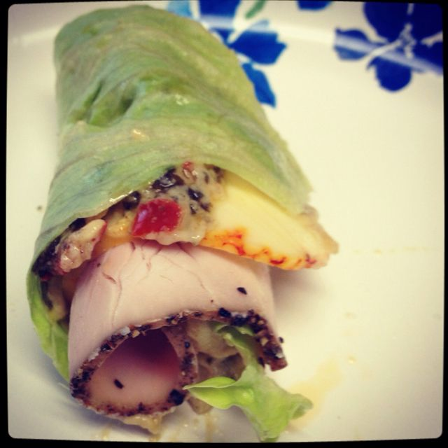 Lettuce wrap. Lettuce. Munster cheese. Seasoned turkey. Hummus whatever kind you like. Yummm and healthy!