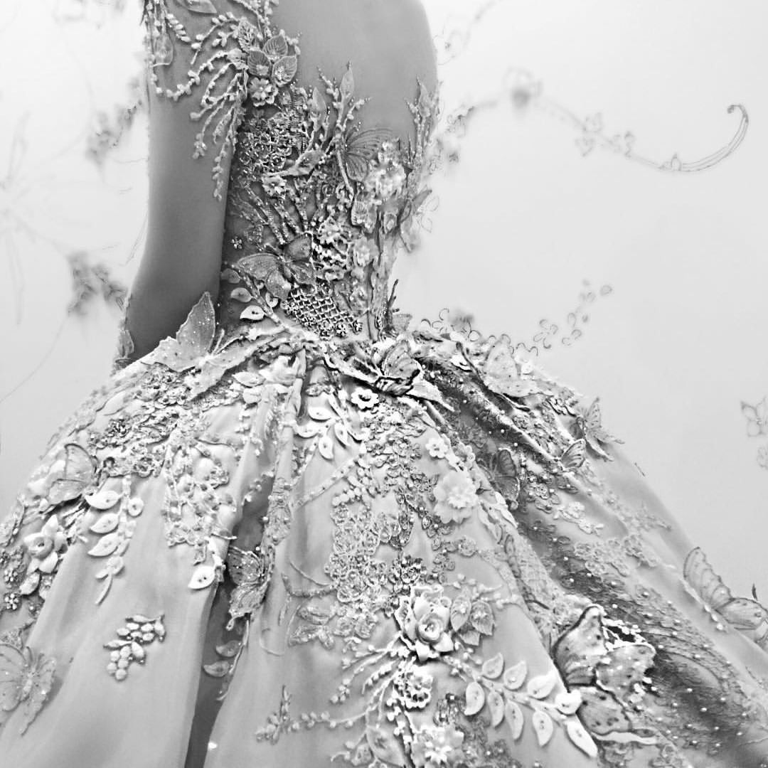 Gown by melta tan mesmerized by the back detail look of custom