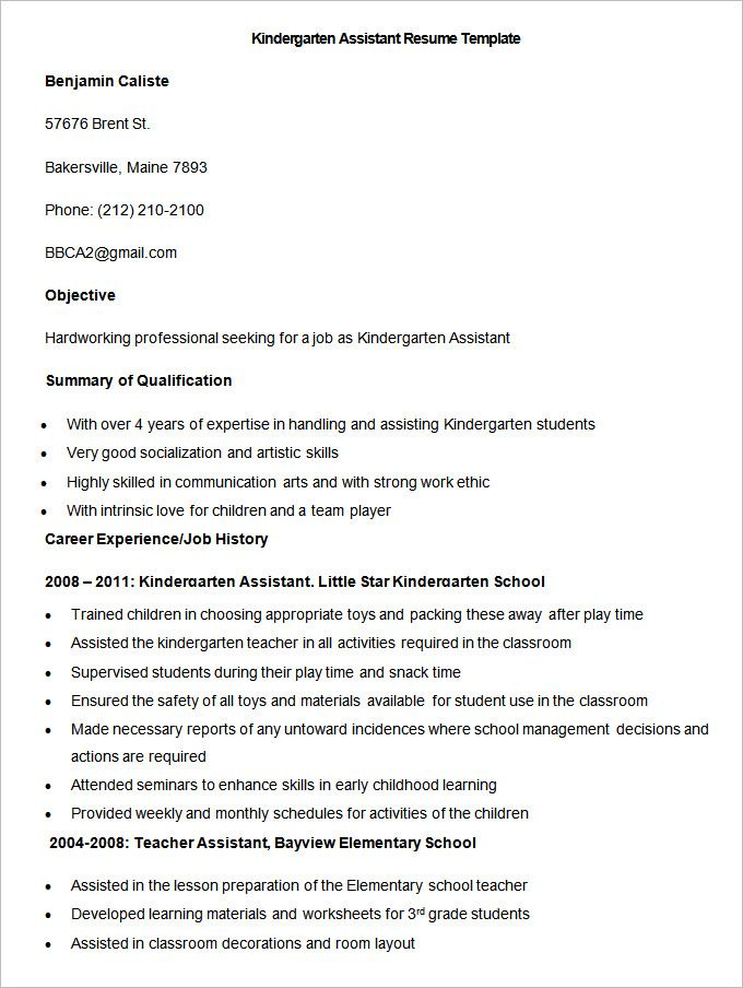 Sample Kindergarten Assistant Resume Template  How To Make A Good
