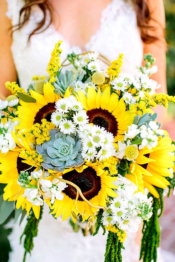 24 Brilliant Sunflower Wedding Bouquets For Happy Wedding | Purscell ...