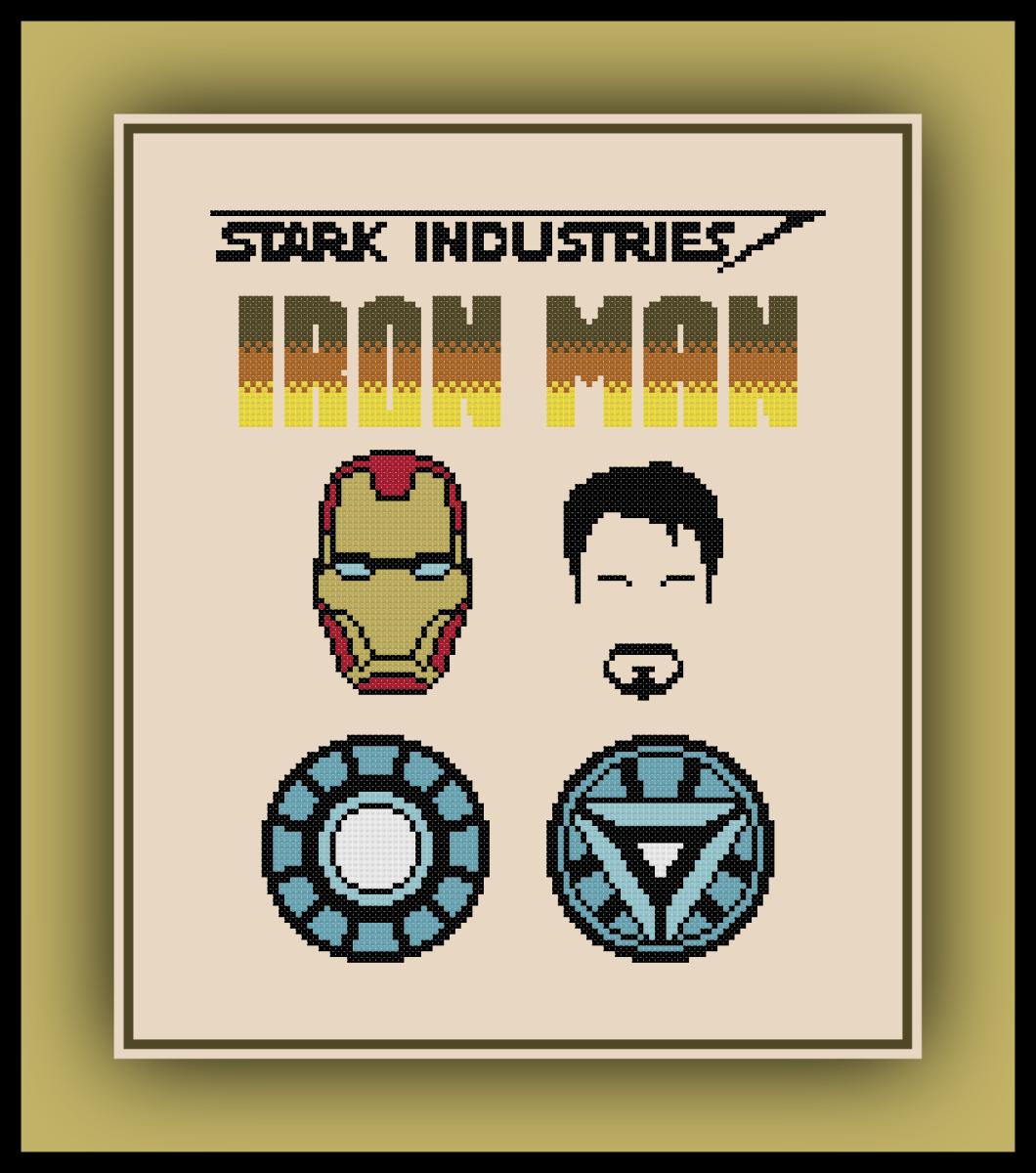 Patreon Only Iron Man Cross Stitch Pattern Logo Set Geeky Cross Stitch Patterns Cross Stitch Cross Stitch Patterns