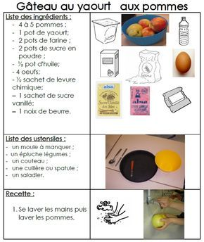 Site internet de l'école maternelle Danielle Casanova - Le gâteau au yaourt et aux pommes