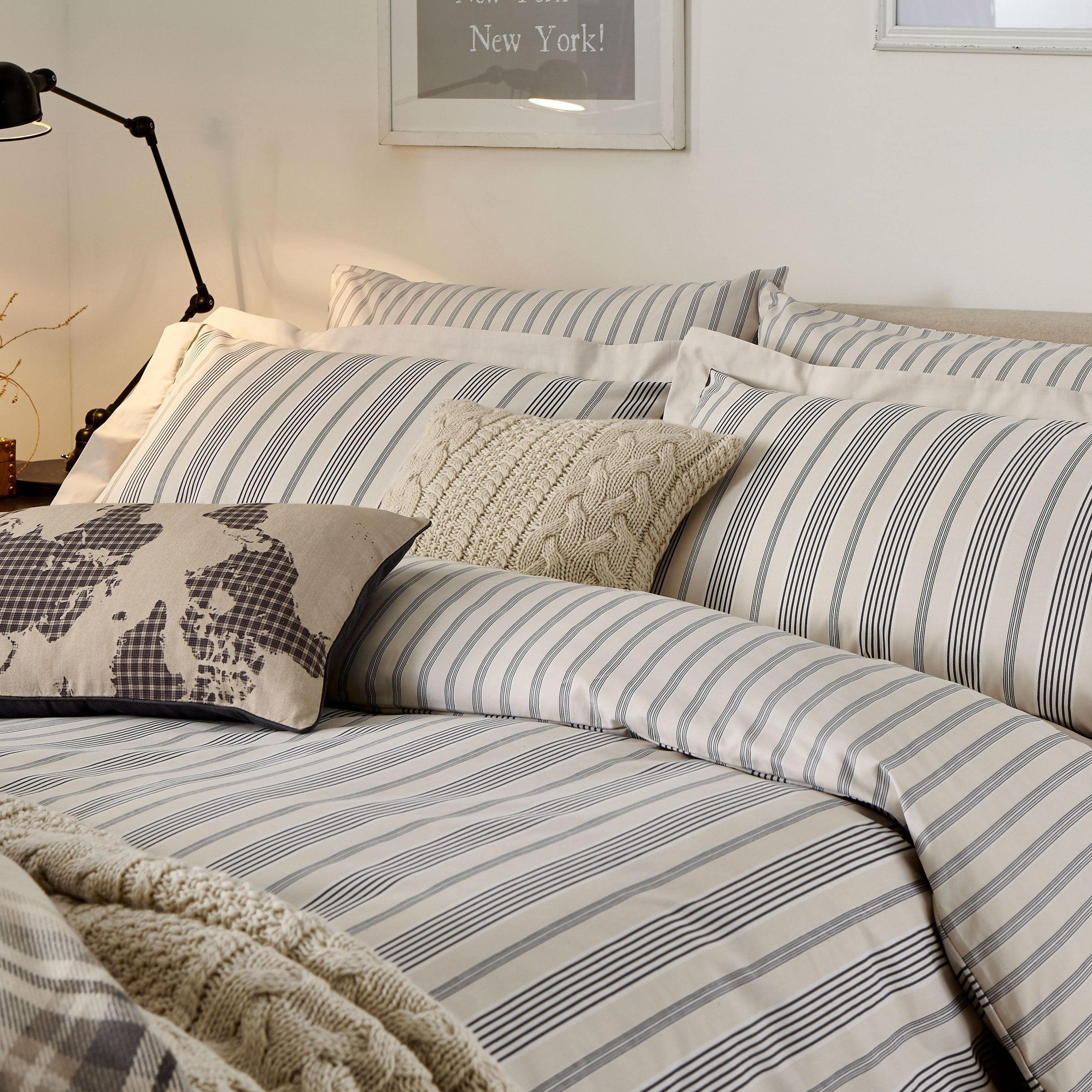 charcoal grey striped bedding  oakley bed linen at bedeck   - charcoal grey striped bedding  oakley bed linen at bedeck