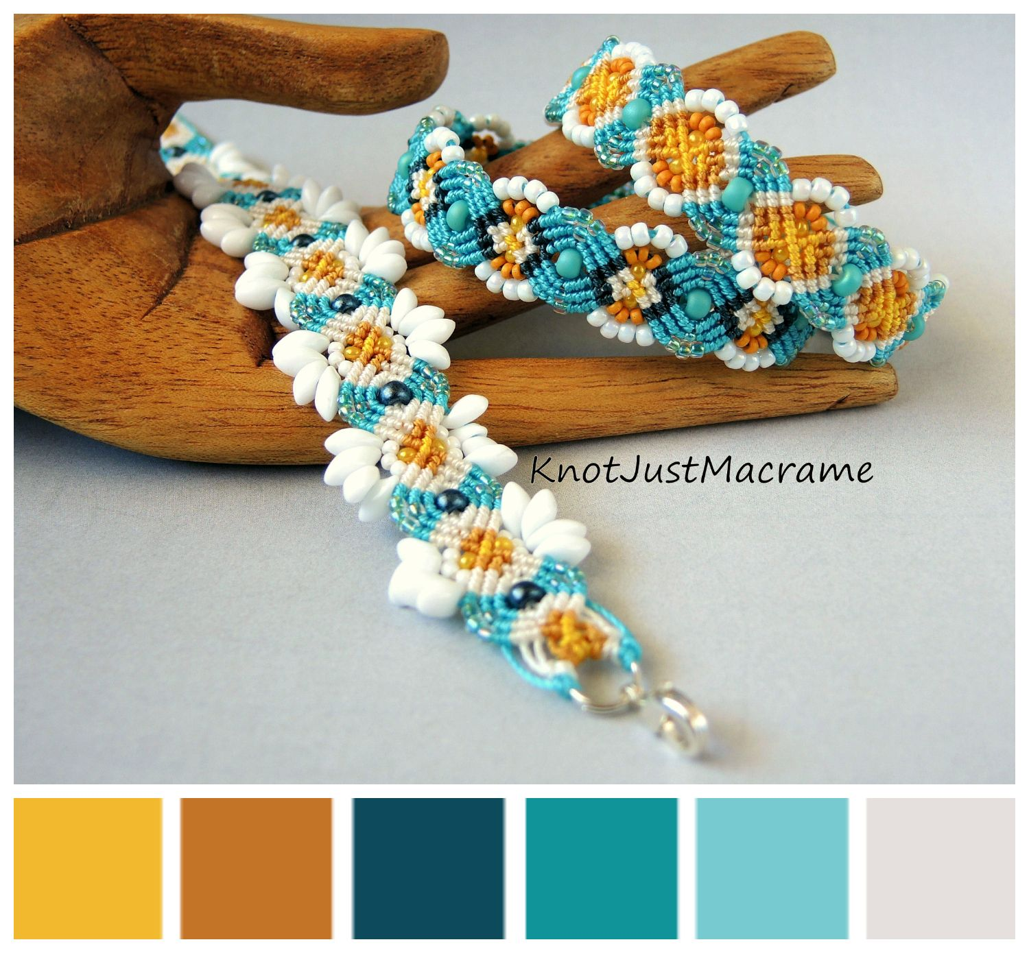 Three micro macrame bracelets in daisy color palette マクラメ
