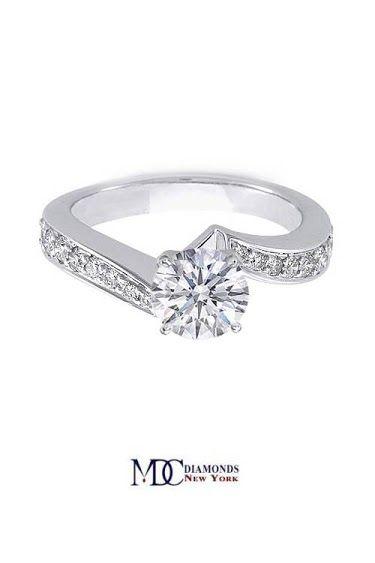 Intertwined Swirl Pave Diamond Engagement Ring