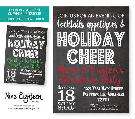 Christmas Party invitation. Cocktails by NineEighteenHolidays