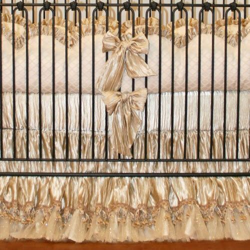 Little Bunny Blue Decadance Crib Bedding Luxurious Gold Ivory