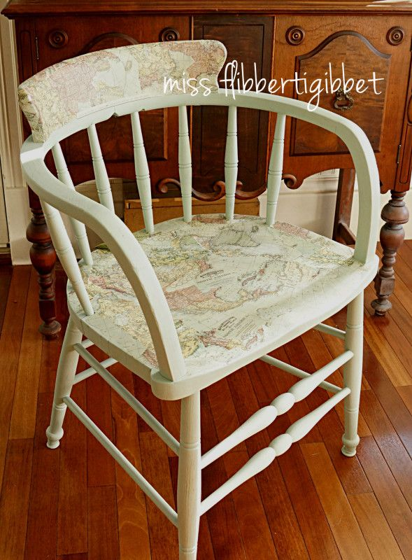 Chair in Fusion™ Inglenook and decoupaged with Fusion\'s Transfer Gel ...