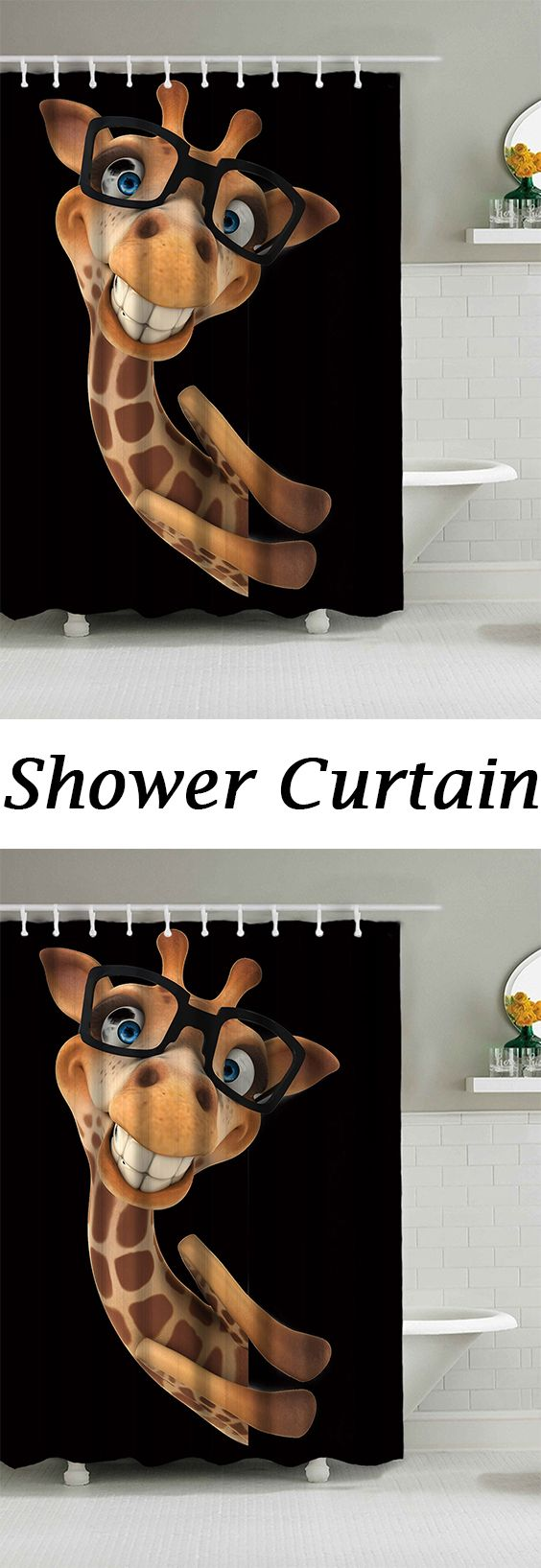 Wear Glasses Smile Giraffe Waterproof Fabric Shower Curtain | Winnie ...