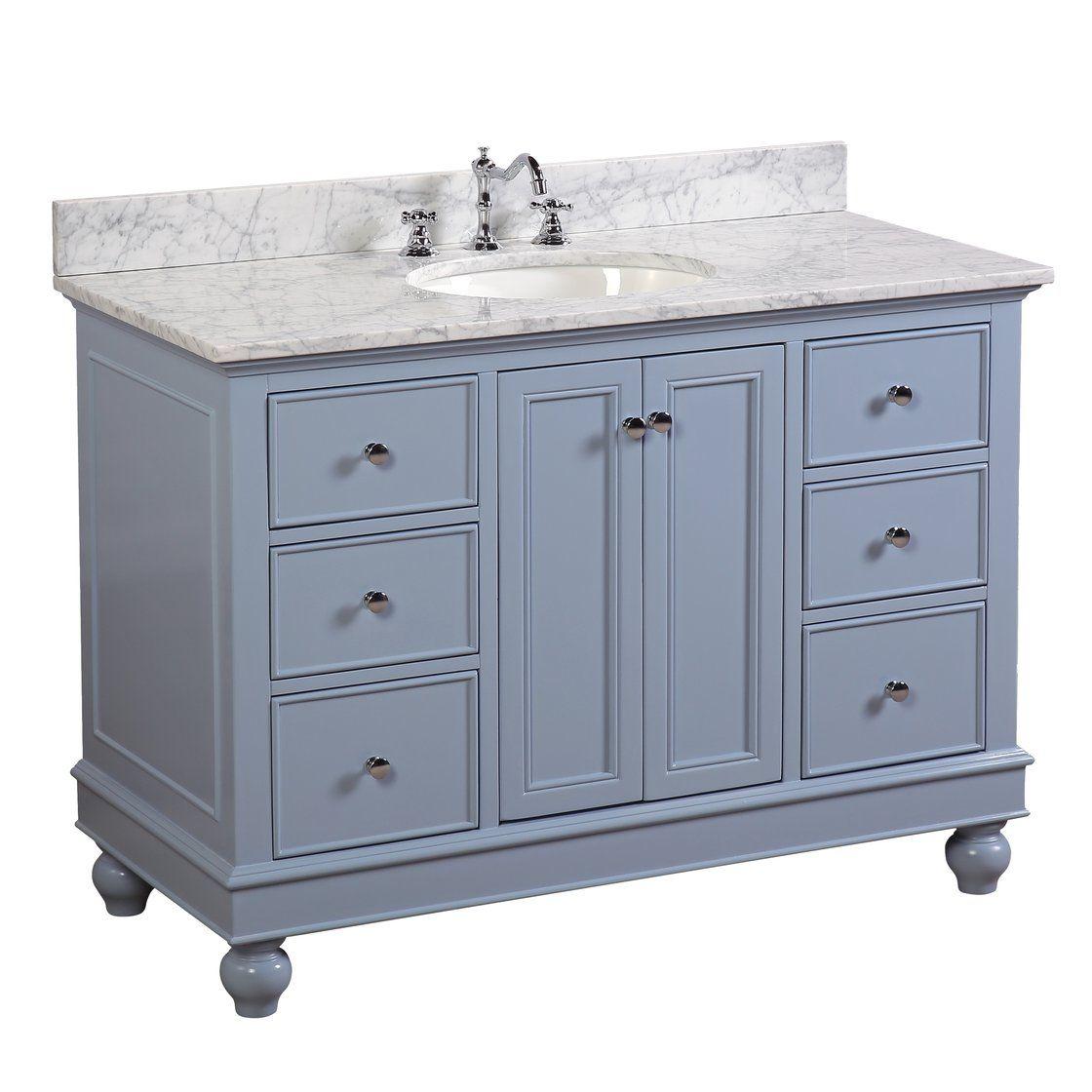 Bella inch Vanity CarraraPowder Blue in Bathroom Vanity